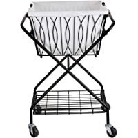 Artesa Verona Collapsible Laundry Cart with Basket, Black
