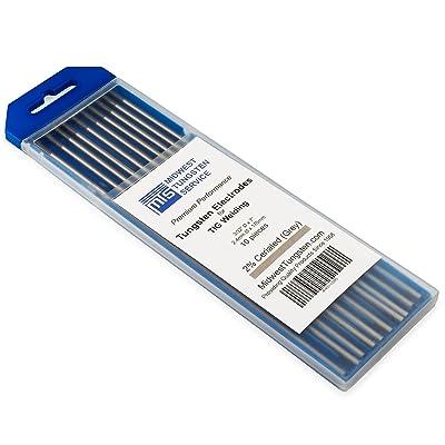 "TIG Welding Tungsten Electrodes 2% Ceriated 3/32"" x 7"" (Grey, WC20) 10-Pack"