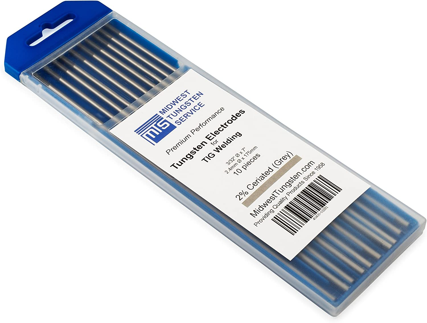 "TIG Welding Tungsten Electrodes 2% Ceriated 3/32"" x 7"" (Grey, WC20) 10-Pack"