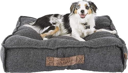 HARMONY Grey Lounger Memory Foam Dog Bed