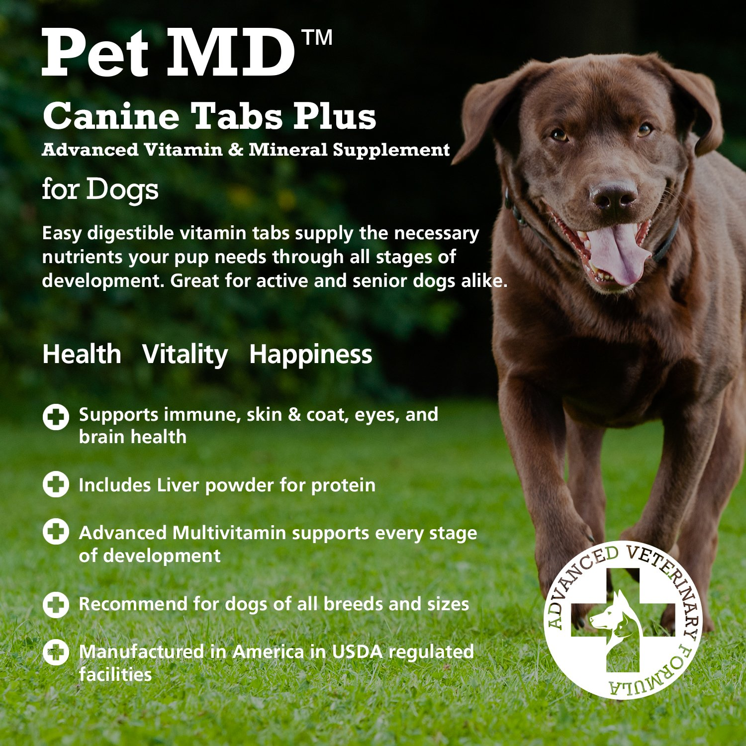 Pet MD - Canine Tabs Plus 365 Count - Advanced Multivitamins for Dogs - Natural Daily Vitamin and Mineral Nutritional Supplement - Liver Flavored Chewable Tablets by Pet MD (Image #4)