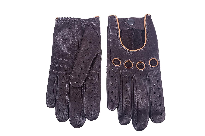 Men/'s Driving Leather Gloves Tap Dark Brown