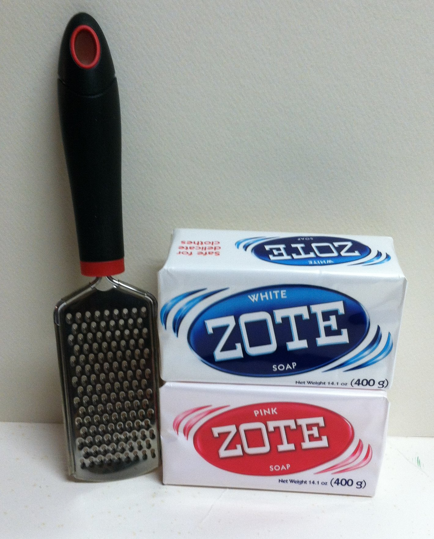 Zote Pink and White Laundry Bar Soap With Soap Grater