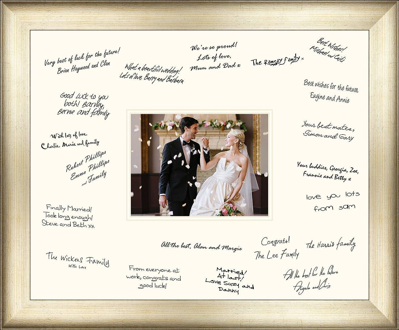 Groß 50 x 40 cm Hochzeit Gast Unterzeichnung Board Antik Silber ...