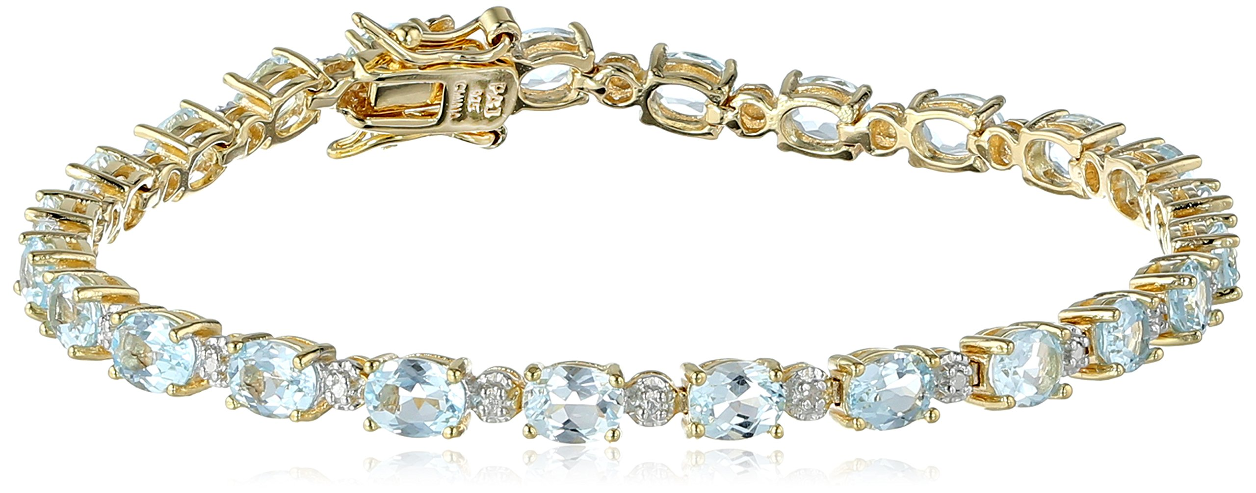 18k-Yellow-Gold-Plated-Sterling-Silver-Diamond-Accent-Two-Tone-Gemstone-and-Tennis-Bracelet-725