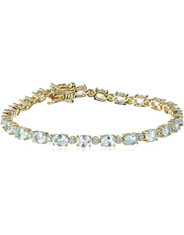 419ee0d6e 18k Yellow Gold-Plated Sterling Silver Diamond Accent Two-Tone Gemstone and  Tennis Bracelet