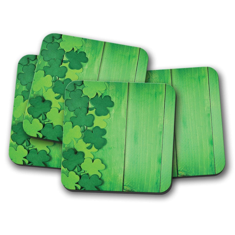 Clover Irlanda Dubl/ín verde madera regalo fresco #14854 Juego de 4 posavasos de la suerte irland/és
