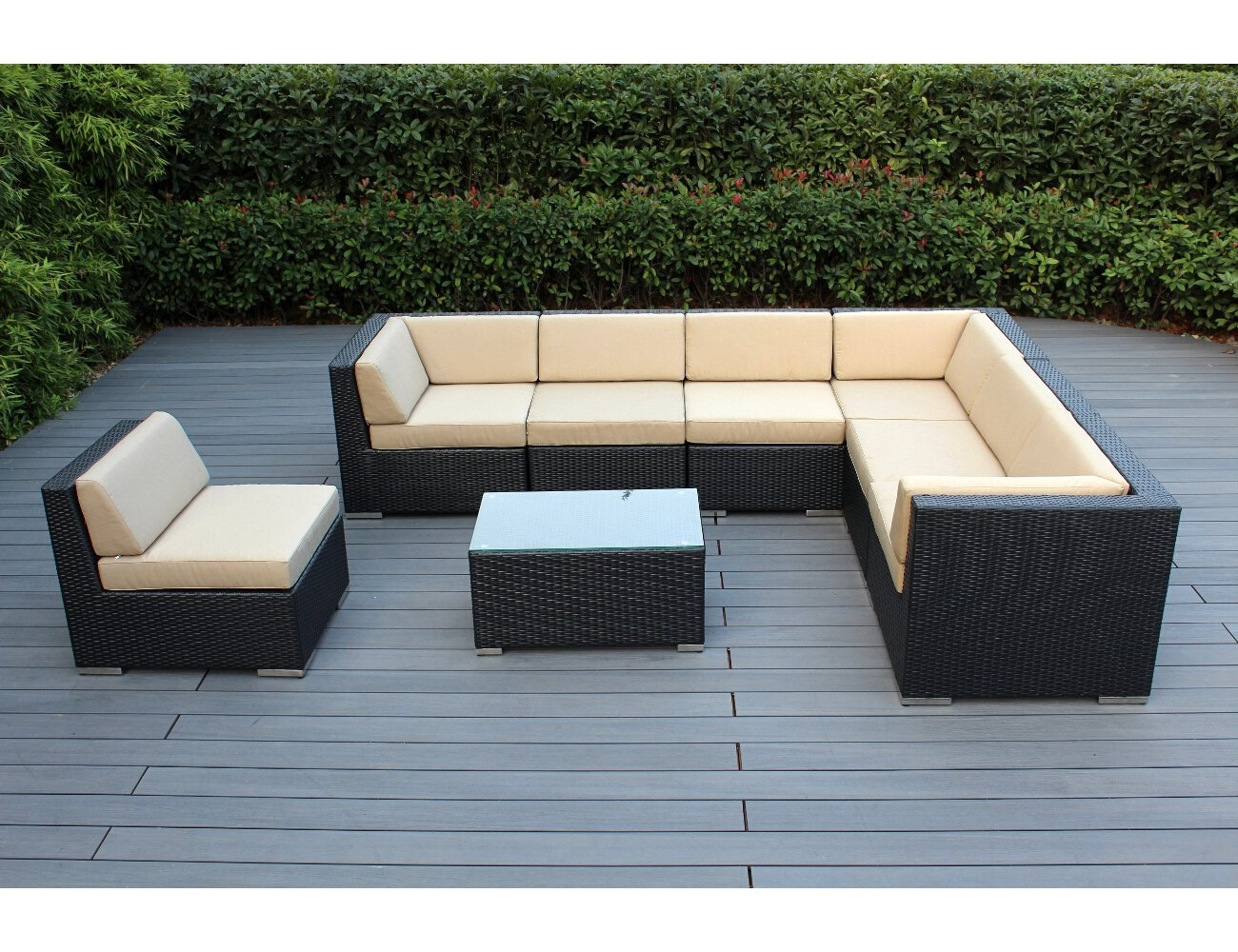 Amazon.com: Ohana 8-Piece Outdoor Patio Furniture Sectional Conversation  Set, Black Wicker with Sunbrella Antique Beige Cushions - No Assembly with  Free ...