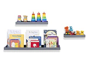 Wallniture Philly 3 Varying Sizes Floating Shelves Trays Bookshelf and Display Bookcase – Modern Wood Shelving for Kids Room and Nursery – Wall Mounted Storage Bathroom Shelf (Gray)