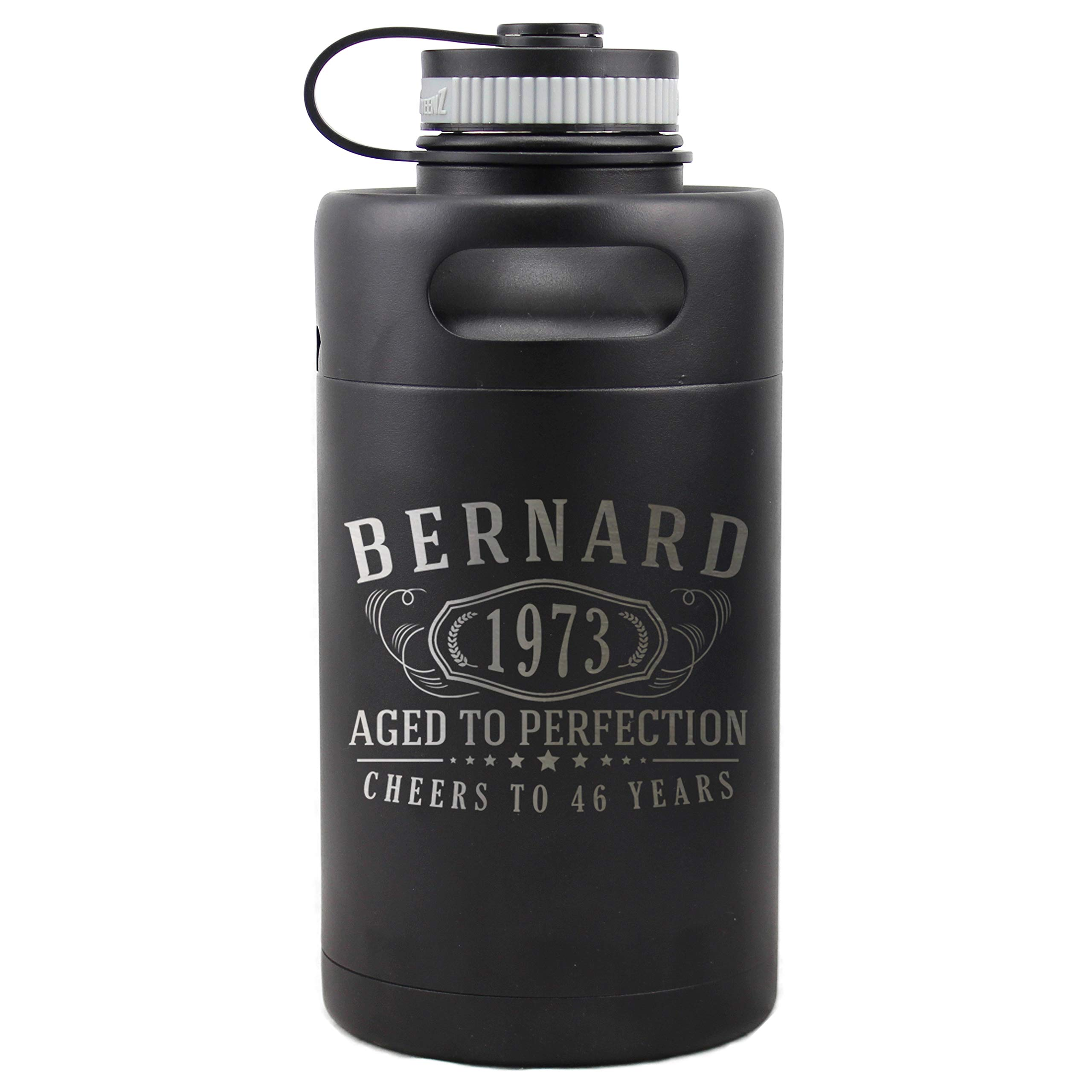 Personalized Etched Insulated Beer Growler 64oz Mini Keg for Birthday Gifts (Matte Black) Canteen Thermos