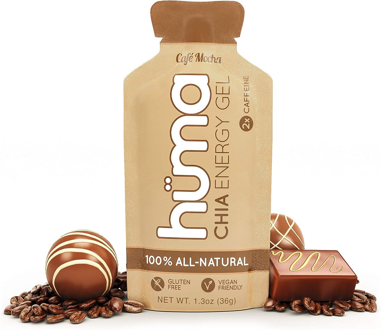 Huma Chia Energy Gel, Café Mocha, 24 Gels, 2X Caffeine - Premier Sports Nutrition for Endurance Exercise