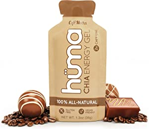 Huma Chia Energy Gel, Café Mocha, 24 Gels, 2X Caffeine - Premier Sports Nutrition for Endurance Exercise