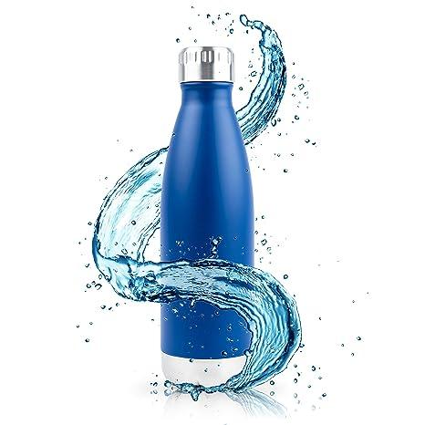 Aislado Botella Gimnasio, Termica Botella de agua acero inoxidable 0,75L (750ml) 0,5L (500ml) - Duración garantía, para niños, deporte y bicicleta, ...