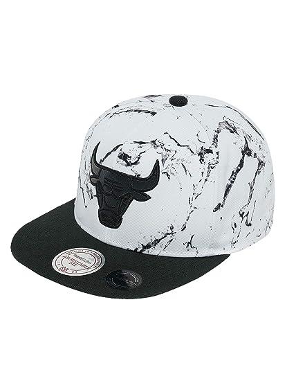 2a452c7240f Mitchell   Ness Men Caps Snapback Cap White and Black Marble Chicago Bulls  White -