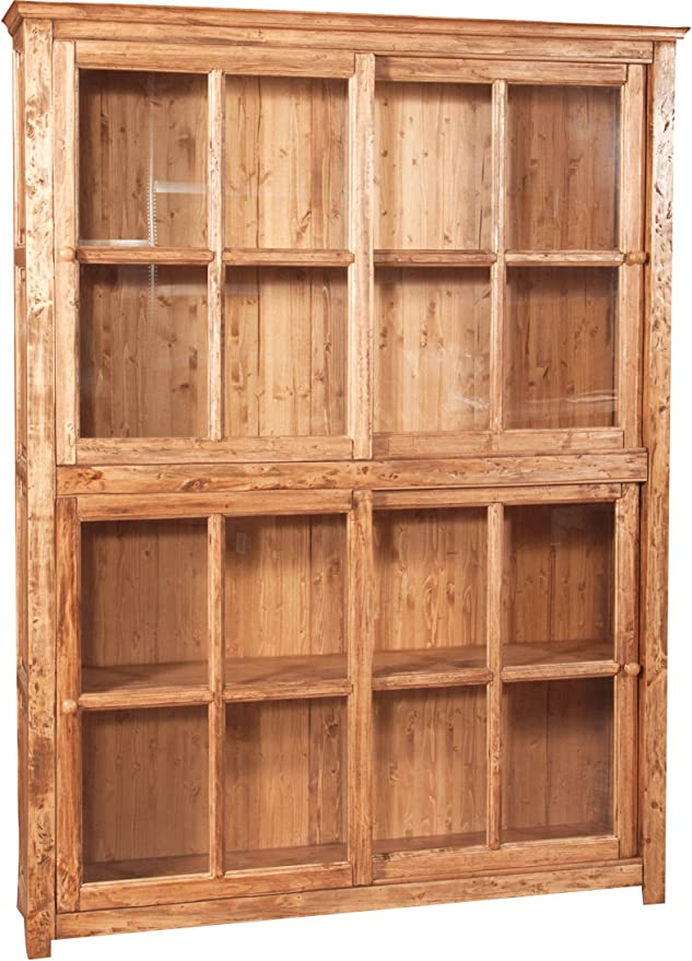 Estantería Vitrina con Puertas correderas de madera maciza de tilo ...