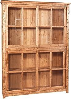 Biscottini librería vitrina con puertas correderas de madera maciza de tilo, acabado natural 154 x 37 x 212 cm: Amazon.es: Hogar