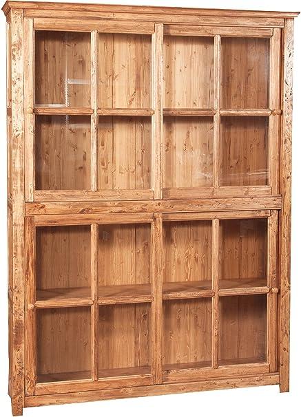 Libreria vetrina con ante scorrevoli in legno massello di tiglio ...