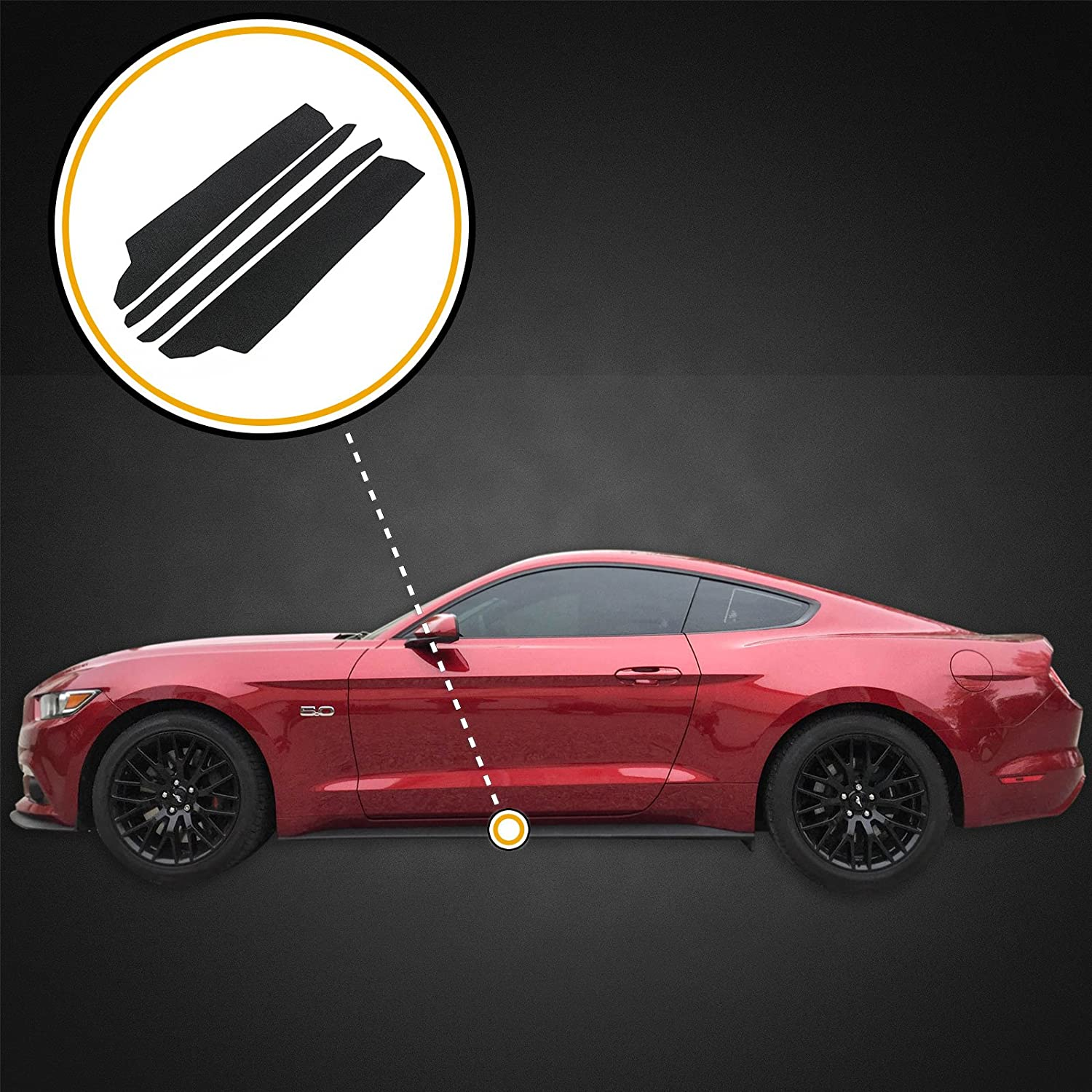 Red Hound Auto Door Entry Guards Scratch Shield 2015-2018 Compatible with Ford Mustang 4pc Kit Paint Protector Black Threshold Cover Peel and Stick Install