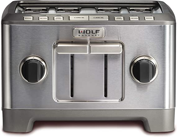 Wolf Gourmet 4 Slice Toaster with Black Knobs (WGTR114S)