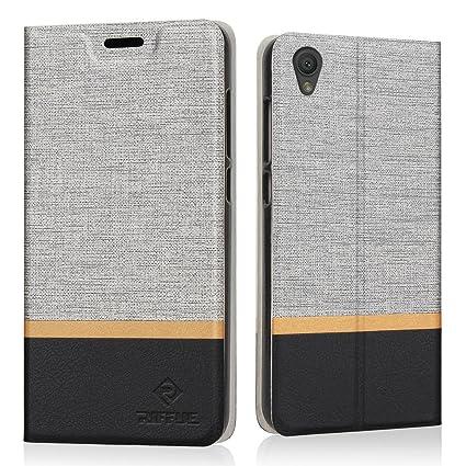 Funda Sony Xperia L1, Riffue Carcasa PU Ultra Delgada con Cartera de Estilo Libro Vaquero Protectora de Folio Flip Case para Sony Xperia L1 - Gris