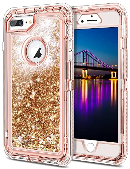 promo code 5bbdf 47cac iPhone 7 Plus Case, JAKPAK Shockproof Glitter Flowing Liquid Bling Sparkle  Cover for Girl Woman Heavy Duty Full Body Protective Shell for 5.5
