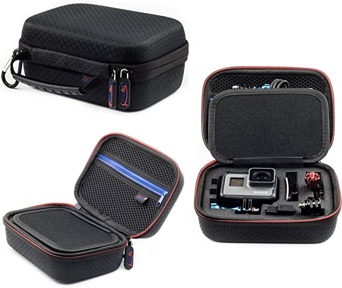 Navitech 9 in 1 Action Camera Accessory Combo Kit and Rugged Red Storage Case Compatible with The VIVITAR/DVR786HD Action Camcorder