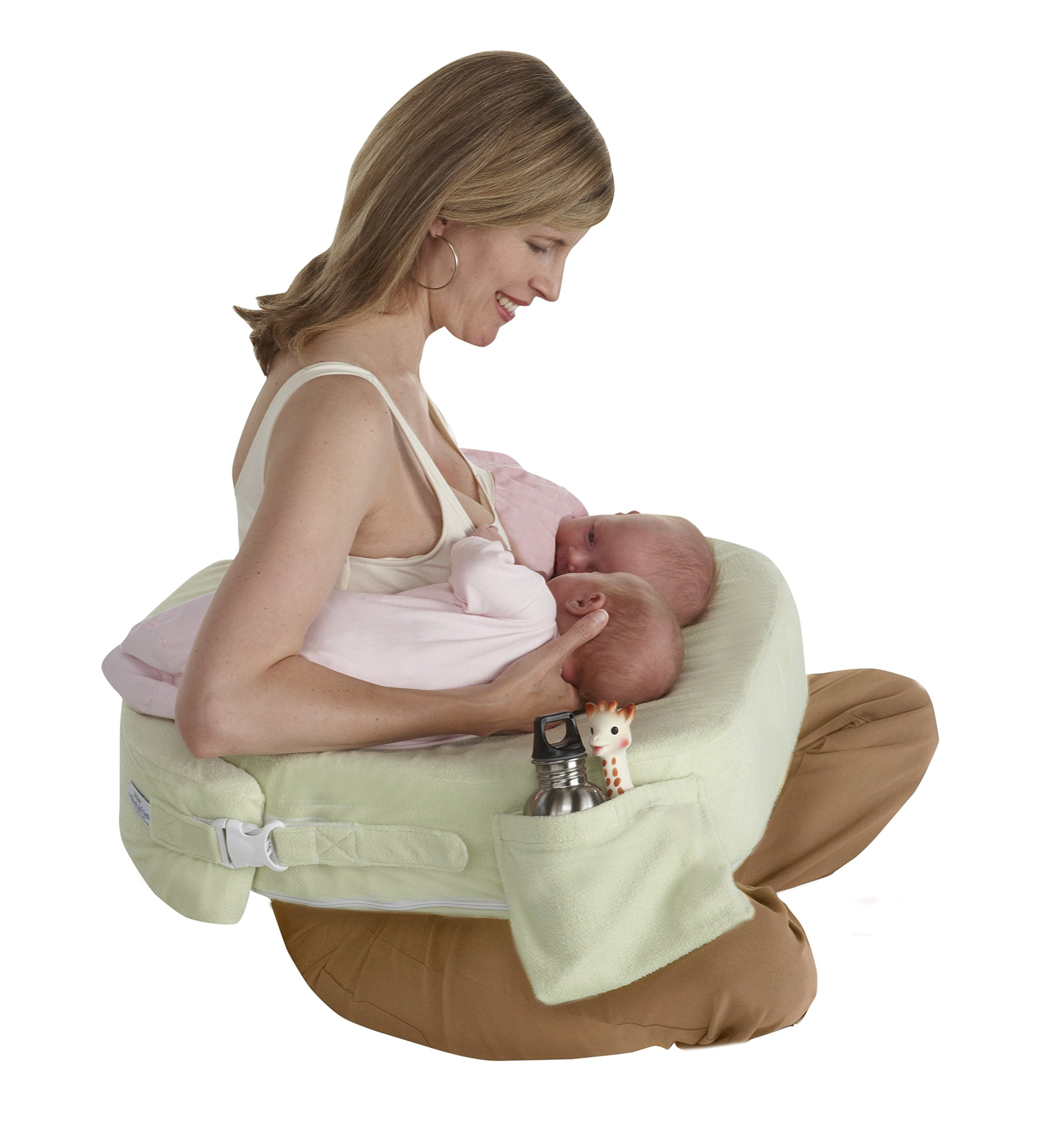 My Brest Friend Supportive Nursing Pillow for Twins 0-12 Months, Plus-Size, Light Green by My Brest Friend