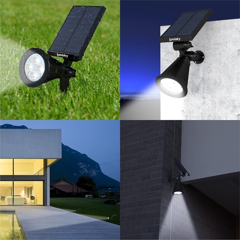 Lumisky Spiky W34 Proyector, Foco Solar con 4 LED para exterior, impermeable, luz 2-en-1, plástico, integrado, 1 W, color blanco, 29 x 9,5 x 34 cm, blanco, ...