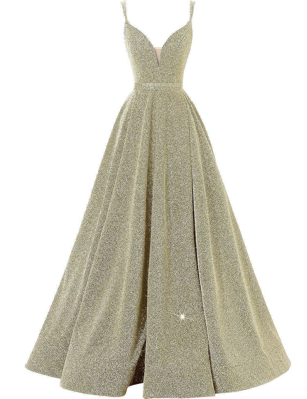 gold AnnaBride Women's Long Spaghetti Straps Prom Party Dresses Split V Neck Glitter Formal Ball Gowns 24PM