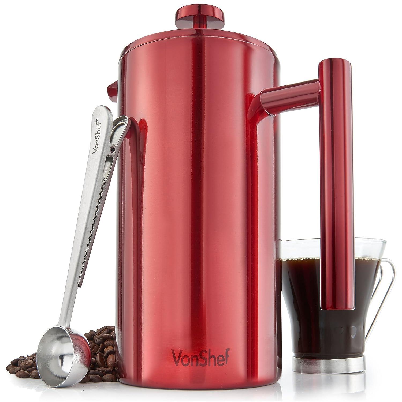Cafetera de 12 Tazas VonShef en Acero Inoxidable Pulido Rojo de Doble Pared y Filtro – incluye Cuchara Medidora y Pinza de Sellado de Bolsa