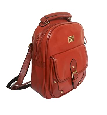 cdd4bcb3eab9 Di Grazia Women s Leather Backpack Handbag (Chocolate Brown ...