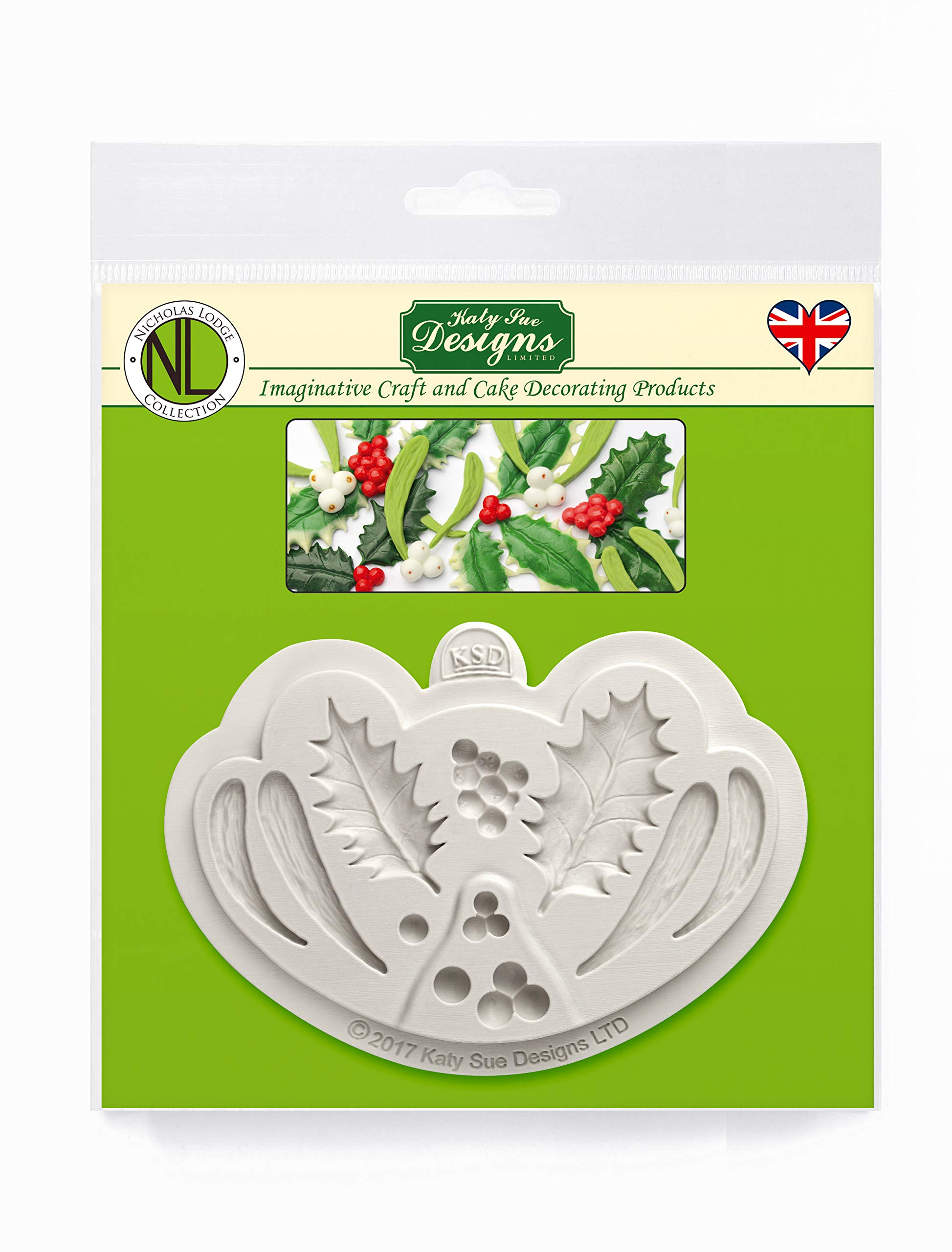 Katy Sue Holly & Mistletoe Silicone Sugarpaste Icing Mold, Nicholas Lodge for Cake Decorating, Sugarcraft, Candies, Crafts, Cards and Clay, Food Safe