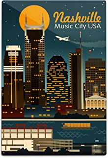 product image for Lantern Press Nashville, Tennesseee, Retro Skyline (12x18 Aluminum Wall Sign, Wall Decor Ready to Hang)