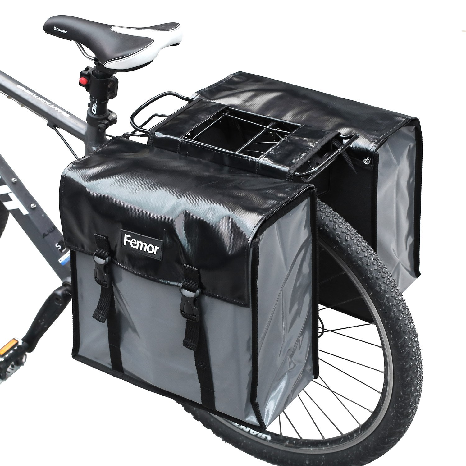femor Waterproof Bike Bag Bicycle Panniers, 40L Double Luggage Pannier Bag with Adjustable Straps and 3M Reflective Trim, Best Mountain Road Bike Trunk Bag, Black