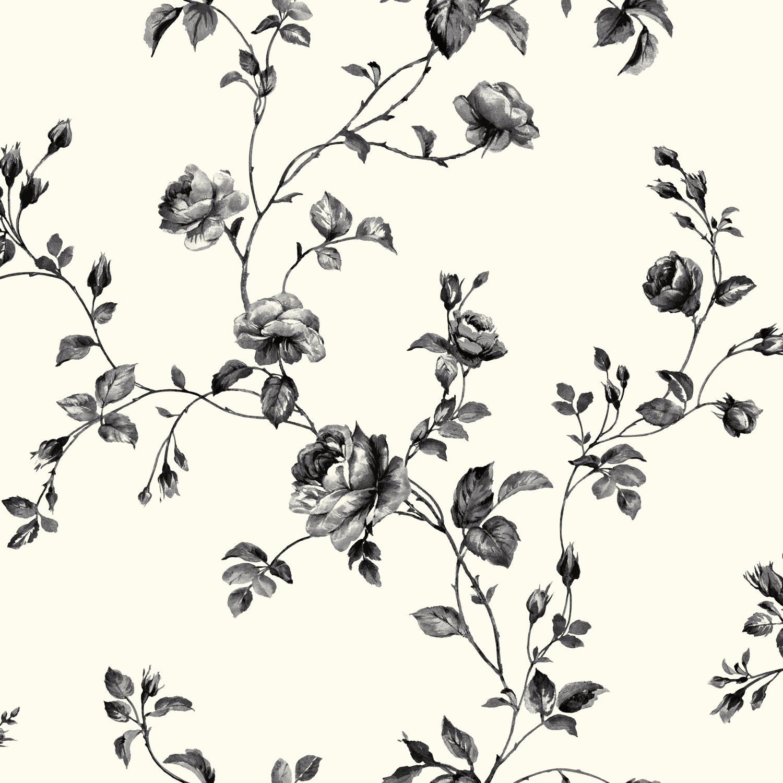 York Wallcoverings Kh7082 Kitchen Bath Rose Toile Wallpaper White