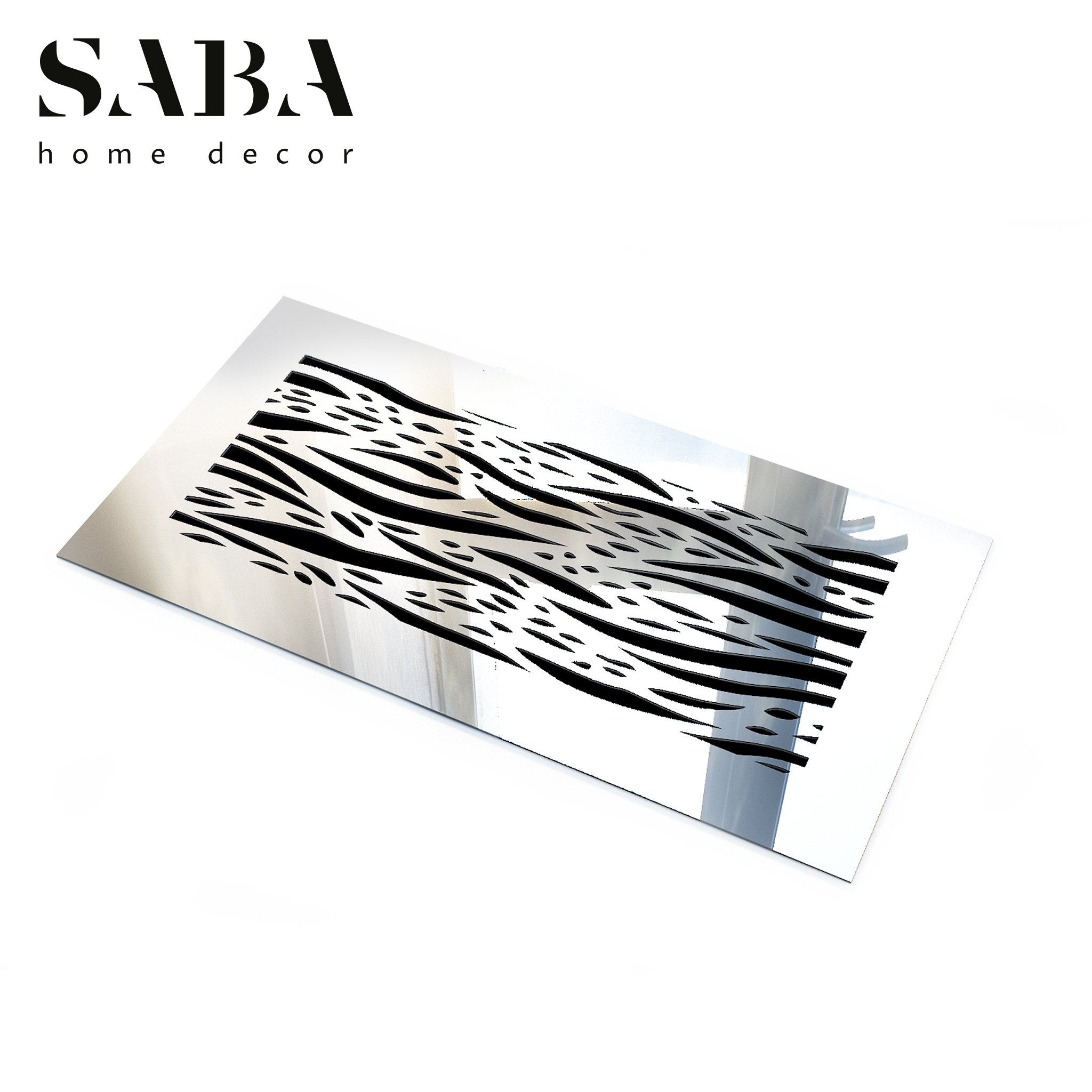 Saba Air Vent Covers Register - Acrylic Fiberglass Grille 10'' x 6'' Duct Opening (12'' x 8'' Overall) Mirror Finish Decorative Cover for Walls and Ceilings (not for Floor use), Waves by SABA Home Decor (Image #2)