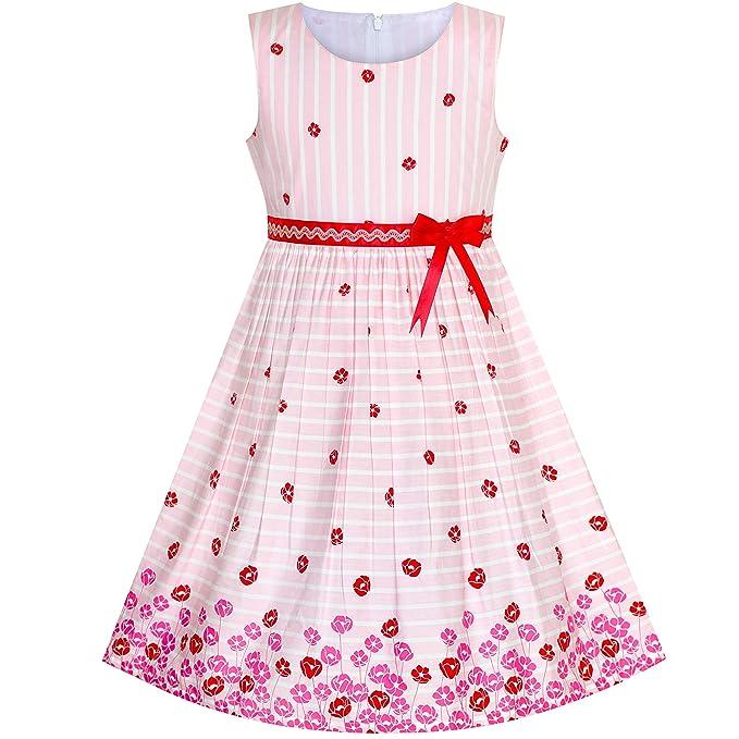 effe43996 Vestido para niña Rosa Flor Algodón Sin Mangas Sol 11-12 años ...