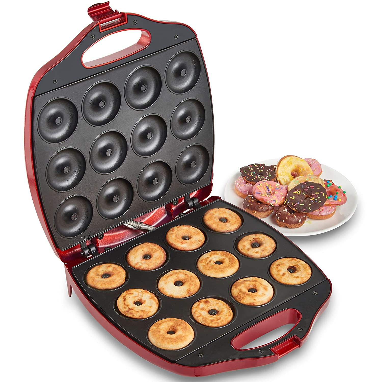 VonShef 12 Mini Donut Electric Maker Kit Set, Small Donut Snack Machine, Red