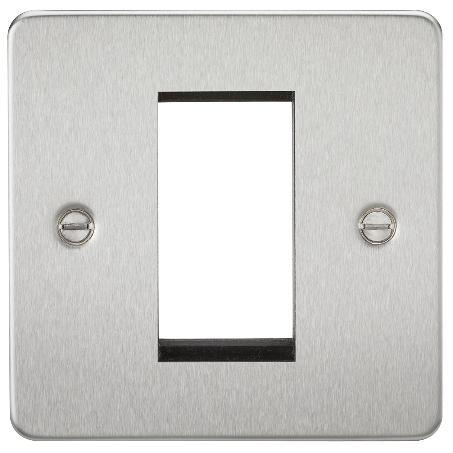 ML642 - BRUSHED CHROME FLAT PLATE 1G MODULAR FACEPLATE, 230V, IP20 W/ 15YR WARRANTY Knightsbridge