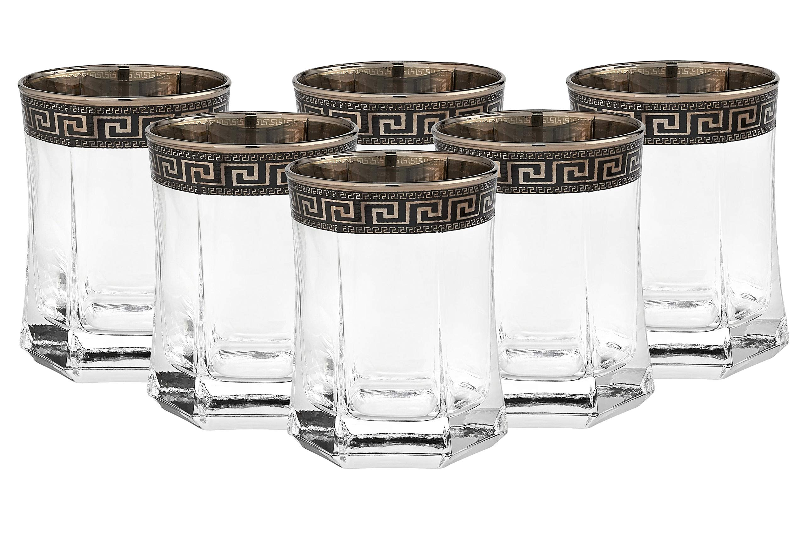 ''Cristalleria Italian Decor'' Crystal Double Old-Fashioned Whisky Rocks Glasses, 10 oz. Platinum Greek Key Ornament, Hand Made in Italy, SET OF 6