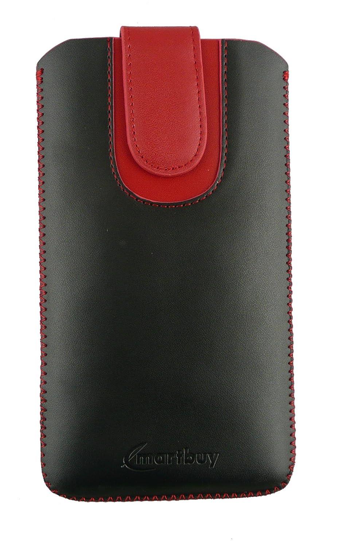 Misura 5XL Emartbuy/® Nero//Blu Premium PU Pelle Custodia Case Cover Sleeve con Linguetta Adatto per Huawei Ascend Mate7