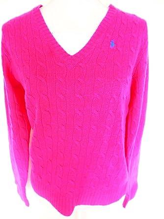 8e552660c9980f Ralph Lauren Sport Damen Pullover, Rosa V-Ausschnitt Cable Sweater Pullover  aus Rein wolle