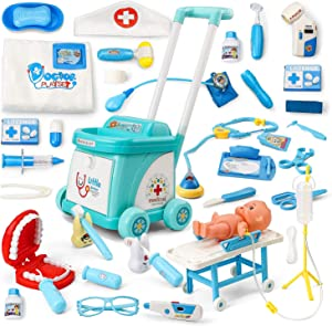 NONZERS Doctor Kit for Kids, 40 Pieces Doctor Play Kit, Pretend Play Doctor Set Medical Toy with Medical Cart, Emergency Bed, Stethoscope, Nurse Suit for Boys Girls Educational STEM Gift