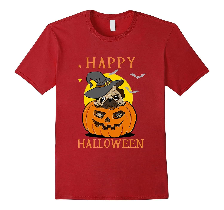 Happy Pumpkin Halloween T-Shirt, Great Pug Dog Lovers Gift-CL