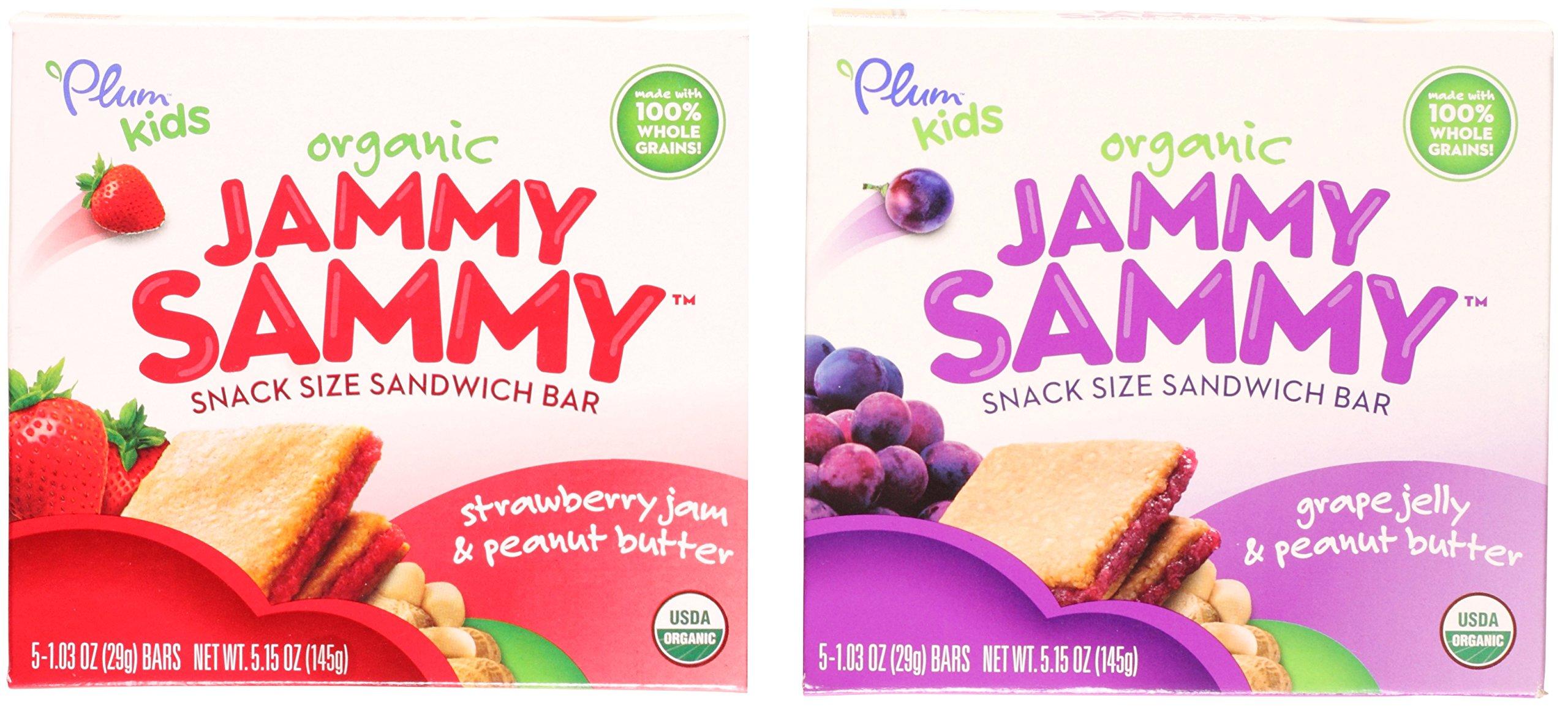 Plum Organics Kids Jammy Sammy Sandwich Bar Variety Bundle: (1) Strawberry Jam & Peanut Butter 5.15oz and (1) Grape Jelly & Peanut Butter 5.15oz (2 Pack Total)