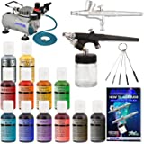 Master Airbrush 2 Airbrush Cake Decorating Airbrushing System Kit with Set of 12 Chefmaster Food Colors, Gravity & Siphon Feed Airbrushes, Air Compressor - Decorate Cakes, Cupcakes, Cookies, Desserts