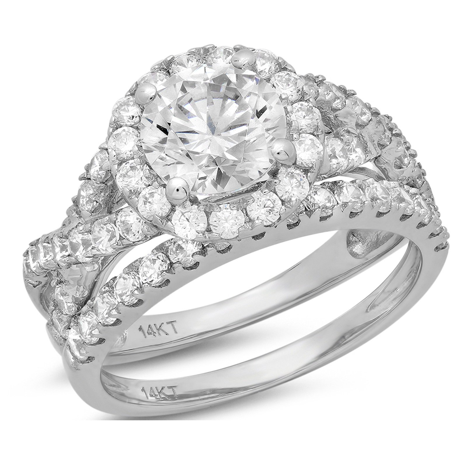 Clara Pucci 2.40 CT Round Cut CZ Pave Halo Bridal Engagement Wedding Ring Band Set 14k White Gold, Size 11