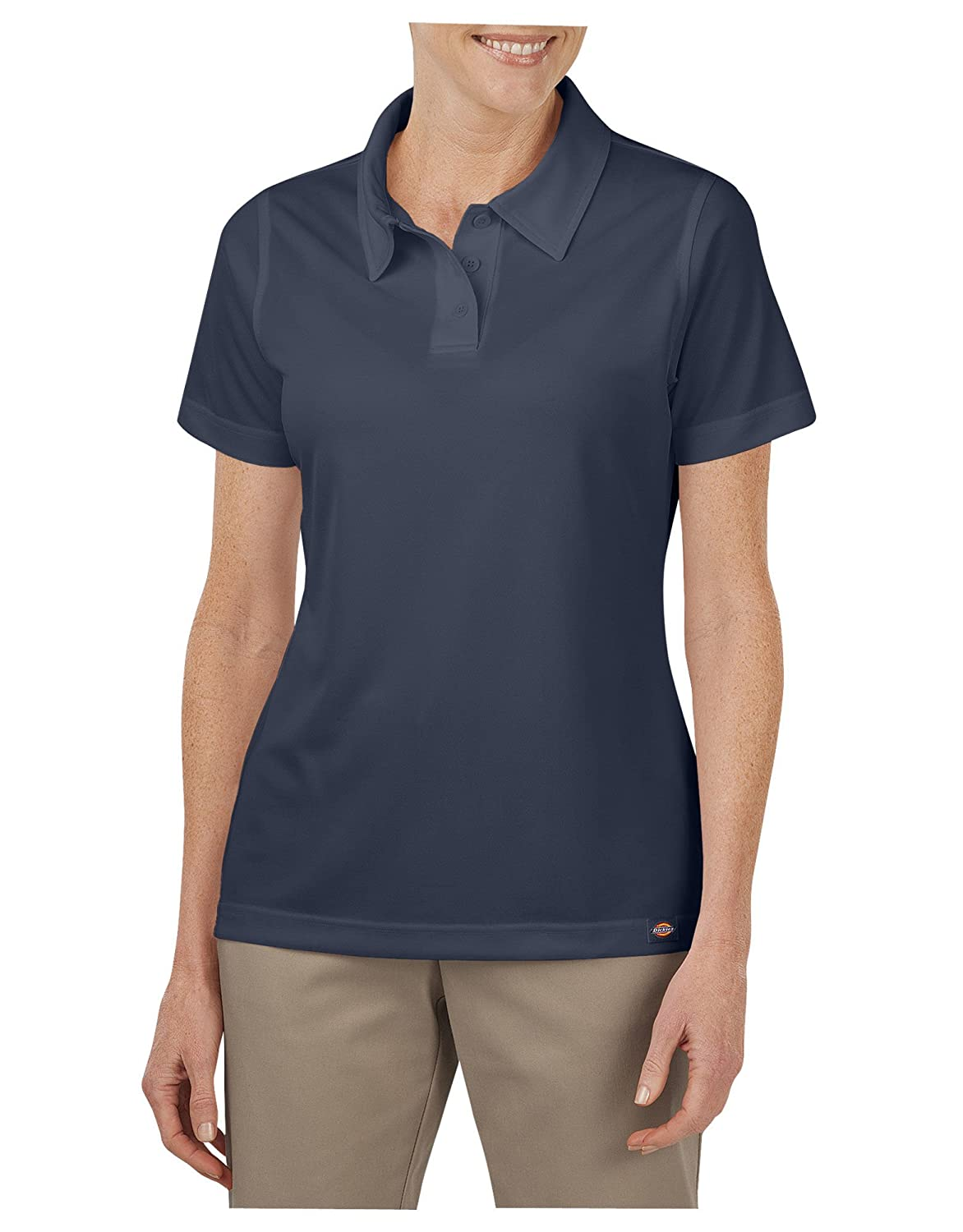 Large Dickies Occupational Workwear FS405DNL FS405 Womens Performance Short Sleeve Polo Dark Navy Fabric
