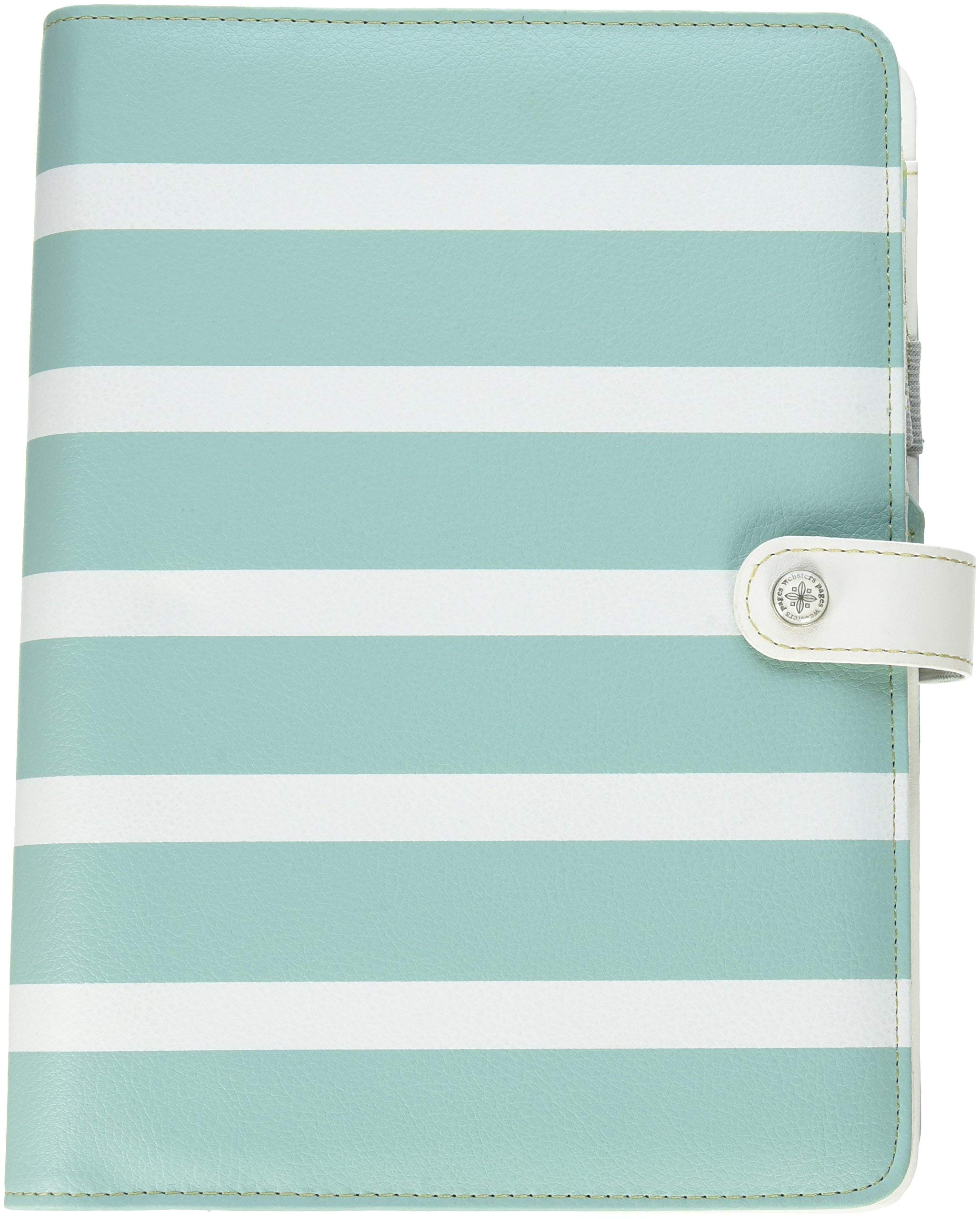 Webster's Pages A5PK001-TW-U Teal Stripe Color Crush A5 Faux Leather Planner Kit, 7.5'' x 10''