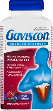 Gaviscon Regular Strength Chewable Foamtabs Fruit Blend, Long-lasting Acid Reflux and Heartburn Relief, 100 Ct